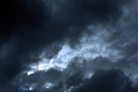 Black clouds in a stormy sky