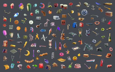 piece of furniture: Bitmap objects for your design! One hundred ten Bitmap objects in high resolution qualitatively rendered in graphical editor. It will help to save your time in the game and design industry. Stock Photo