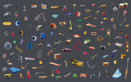 qualitatively: Bitmap objects for your design! One hundred ten Bitmap objects in high resolution qualitatively rendered in graphical editor. It will help to save your time in the game and design industry. Stock Photo