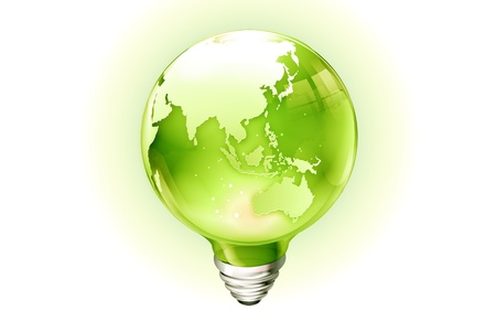 light bulbs with  world inside  photo