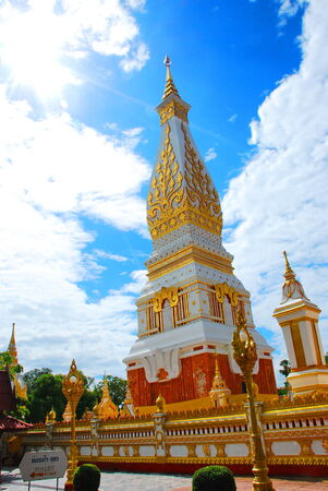 northeastern: Chedi Phra That Phanom and blue sky, at Nakorn Phanom province, northeastern of Thailand