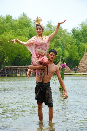 manora: AYUTHAYA, THAILAND  : Unidentified Thai dancers perform the Thai literature called Manora at Ayutthaya Klong Sa Bua & Water Theater in Ayuthaya, Thailand. Editorial