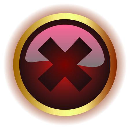 Error icon button on white background photo