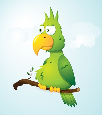 Green cartoon parrot on a branch  Vector