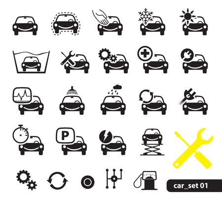 onderhoud auto: Auto dienst pictogrammen, stel 01