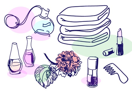 beauty product:  Drawing of vintage cosmetics set