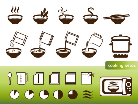 instruct: Cooking signs, for manuals on packing