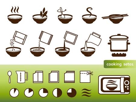soup spoon: Koken borden, voor de handleidingen op de verpakking Stock Illustratie