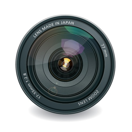 Professional photo lens, isolated on white Vector