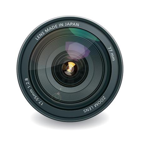 camera lens: Professionele foto-lens, geïsoleerd op wit