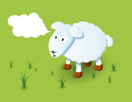 Cute cartoon lamb Vector