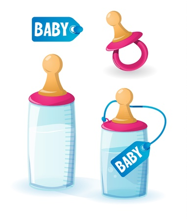 feeding: Baby milk bottles and pacifier Illustration