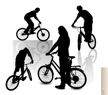 Cyclists - silhouette clip-art Stock Vector - 12397996