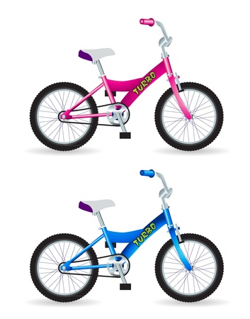 Kids bicycles, blue and pink Stock Vector - 12397998