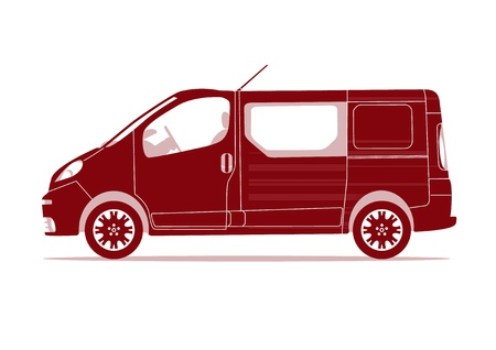 mini bus: Car silhouette - Van Illustration