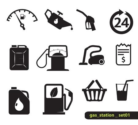 onderhoud auto: Benzine station iconen, Blak op wit