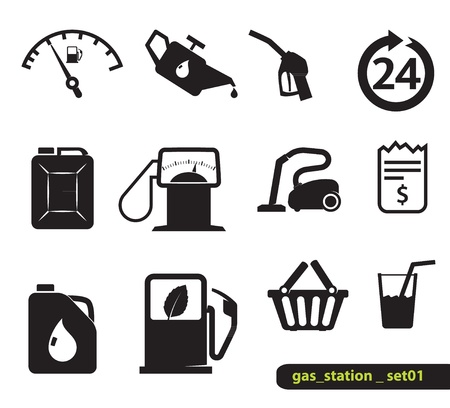 gas pump: Gasoline station icons, blak on white