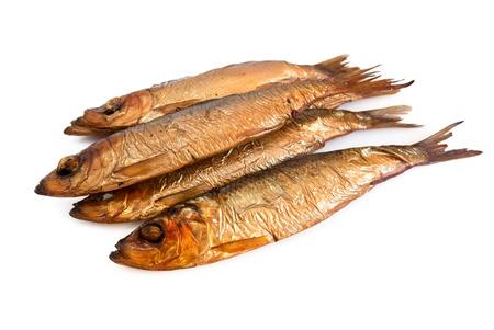 Tasty smoked fish  isolated on white background