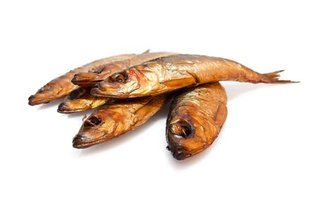 Tasty smoked fish  isolated on white background photo