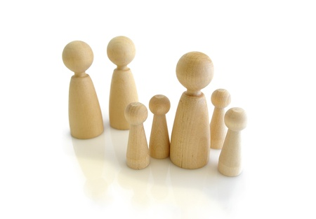 Wooden doodles, human relationship concept