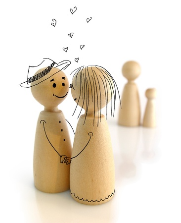 Wooden doodles, human relationship concept