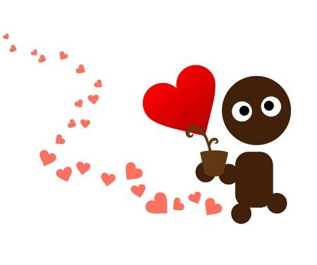 declaracion de amor: Tarjetas de San Valent�n, lindos cuidados garabato del coraz�n de flores en el bote Vectores