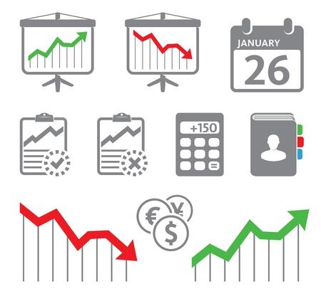Ekonomiczne ikony, wykresy biznesowe i narzędzia