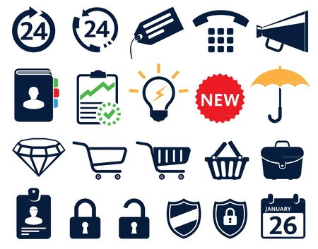 Business icons, economic symbols and tools Stock Vector - 12398184