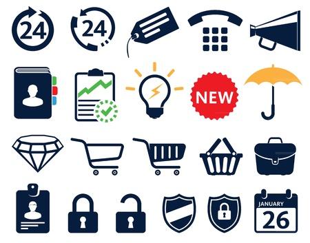 Business icons, economic symbols and tools