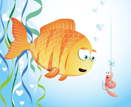 Cute fish and worm, underwater cartoon Vector