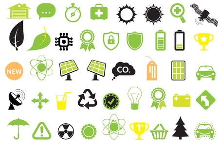 Green energy icons, concept of energy saving, ecology and technologies Illustration