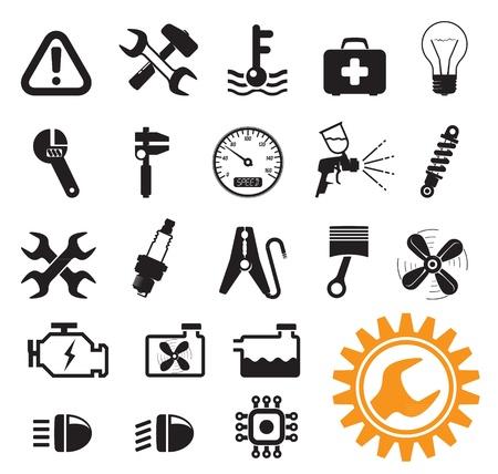 Coche mecánico y herramientas de servicio, conjunto de iconos