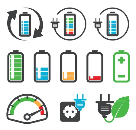 lading: Kleurrijke batterij iconen, recycling concept