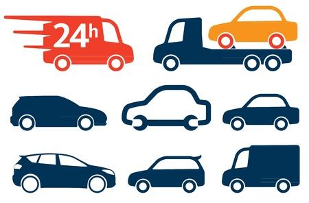 미니: 단순히 자동차 아이콘, 기호 설정 일러스트
