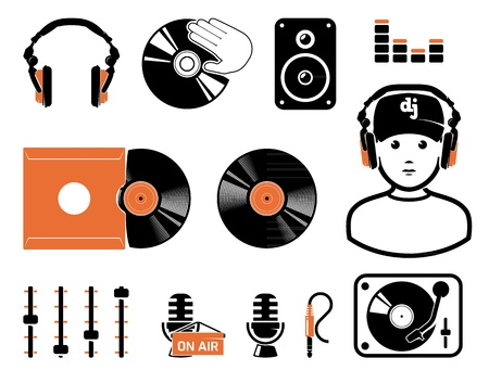 dj turntable: DJ`s set Illustration