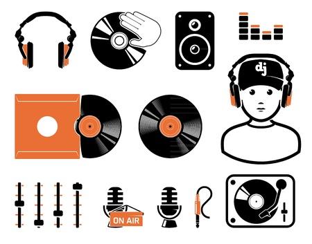 turntable: DJ`s set Illustration