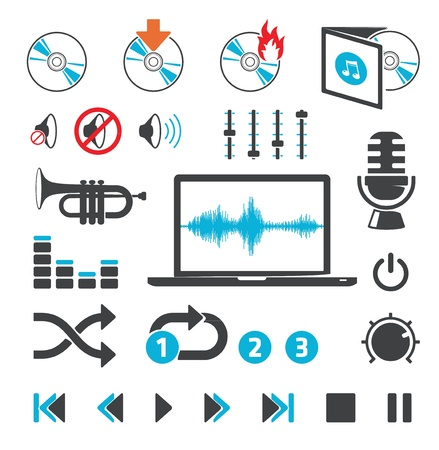 Audio-video computer icons and signs