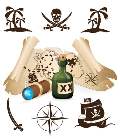 Treasure map, pirate collection Vector
