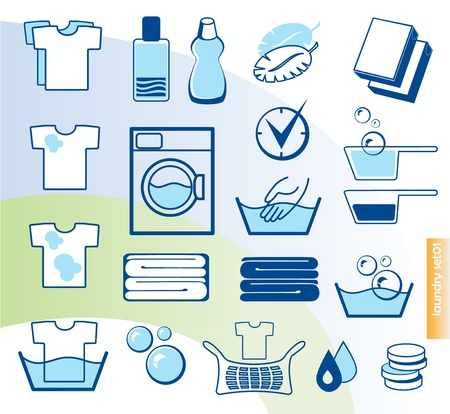 lavadora con ropa: Iconos vectoriales de lavandería establece Vectores