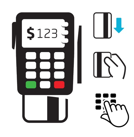 credit card purchase: POS-terminal and credit card icons