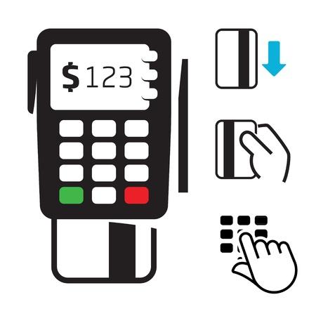 tarjeta visa: POS-terminales y los iconos de tarjetas de crédito