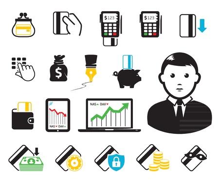 POS-terminales y los iconos de tarjetas de crédito Ilustración de vector