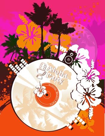 caribbean party: Fiesta en la playa cartel en estilo tropical