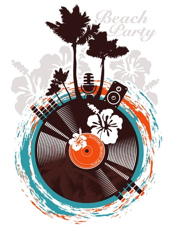 surf silhouettes: Beach party poster in tropical style