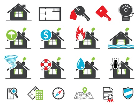 fire damage: Estate insurance icons, set