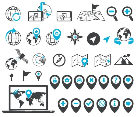 Map, location and destination markers and icons Vector