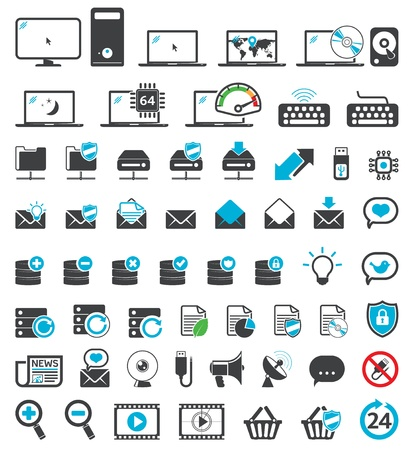 Computer icons set, Web, Internet & Office universal symbols Vector