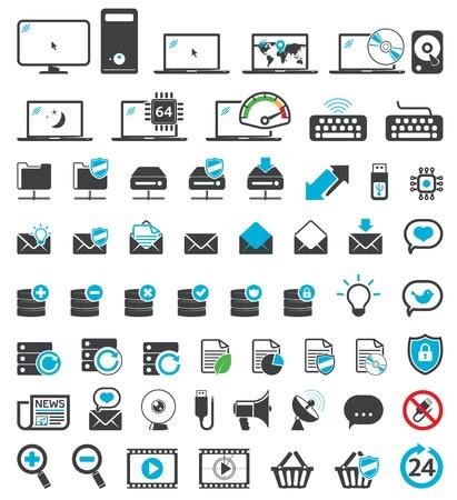 Los iconos de configuración de la computadora, los símbolos Web, de Internet y del Despacho Universal