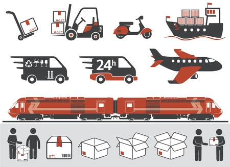 deliver: Mail delivery, transportation symbols, boxes