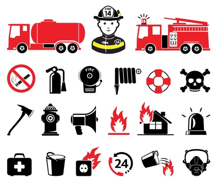 fire extinguisher sign: Firefighter icons, set Illustration